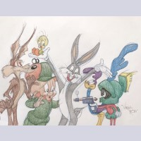 Warner Brothers Virgil Ross Animation Drawing of Wile E. Coyote, Elmer Fudd, Tweety, Bugs Bunny, Roadrunner, and Marvin the Martian