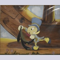 Original Walt Disney Production Cel on Courvoisier Background from Pinocchio featuring Jiminy Cricket