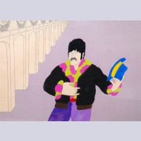Original Beatles Production Cel on Production Background From Yellow Submarine featuring John