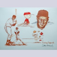 Original Peanuts Lithograph Living Legends Signed by Stan Musial