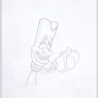 Original Walt Disney Production Drawing from Beauty and the Beast featuring Lumiere