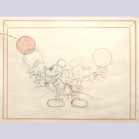Original Walt Disney Storyboard Drawing from Magician Mickey (1937) featuring Mickey Mouse
