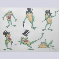 Warner Brothers Virgil Ross Animation Model Drawing of Michigan J. Frog