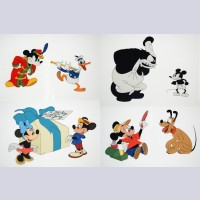 Set of Four Walt Disney Limited Edition Cels from Walt Disney's Mickey Mouse 50th Anniversary Commemorative Limited Edition Cel Portfolio