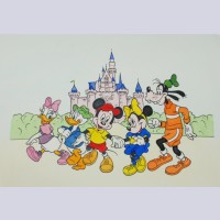 Disney Animation Art Hand Colored Etching Featuring Mickey Mouse