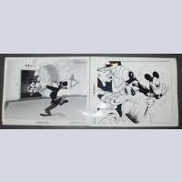Original Walt Disney Set of 2 Black and White Stills Mickey Mouse and Goofy