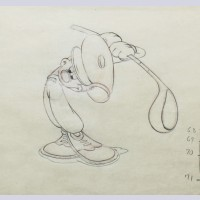 Original Walt Disney Production Drawing of Mickey Mouse from Canine Caddy (1941)