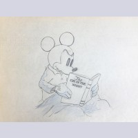 Original Walt Disney Production Drawing from Mickey Plays Papa featuring Mickey Mouse