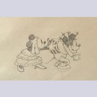 Original Walt Disney Production Drawing from Mickey's Mellerdrammer (1933)