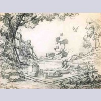 Original Walt Disney Storyboard Layout Drawing featuring Minnie Mouse