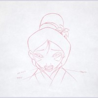 Original Walt Disney Production Drawing from Mulan (1998) featuring Mulan