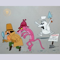 Original Warner Brothers Pink Panther Limited Edition Cel, Wet Cement, Signed by Friz Freleng