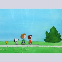 Original Peanuts Production Cel on Production Background featuring Peppermint Patty, Marcie, Snoopy, and Woodstock
