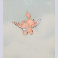 Original Walt Disney Production Cel on Courvoisier Background from Fantasia featuring Baby Pegasus