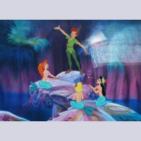 Disney Animation Art Limited Edition Cel featuring Peter Pan and the Mermaids