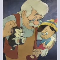Original Walt Disney Production Cel on Courvoisier Background Geppetto, Pinocchio, Figaro