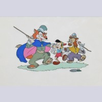 Original Walt Disney Model Cel from Pinocchio featuring Pinocchio and Foulfellow