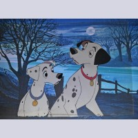 Original Walt Disney Production Cel from 101 Dalmatians featuring Pongo and Perdita