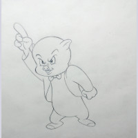 Original Warner Brothers Production Drawing Featuring Porky Pig