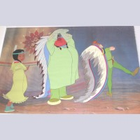 Original Walt Disney Production Cel From Peter Pan Featuring Tiger Lily, Peter Pan and Great Big Little Panther