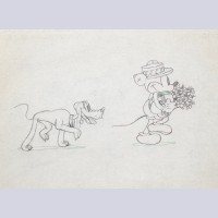 Original Walt Disney Production Drawing of Mickey Mouse and Pluto from Puppy Love (1933)