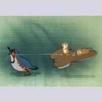 Walt Disney Production Cel on Courvoisier Background featuring Squirrel and Quail