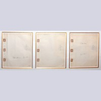 Original Walt Disney Three Production Drawings Featuring The Queen, Signed by Ollie Johnston and Frank Thomas