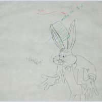Original Warner Brothers Production Drawing from Rhapsody Rabbit (1946) featuring Bugs Bunny