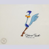 Original Warner Brothers Production Cel Featuring Road Runner