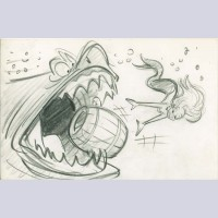 Original Walt Disney Storyboard Drawing From The Little Mermaid featuring Ariel and the Shark