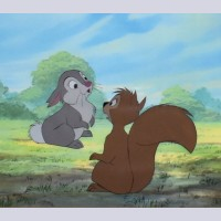 Original Walt Disney Production Cel from The Sword in the Stone featuring Squirrel and Rabbit