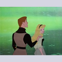 Original Disney Production Cel from Sleeping Beauty Featuring Briar Rose and Prince Phillip