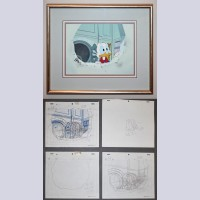 Original Walt Disney Television Production Cel and Four Production Drawings from Duck Tales