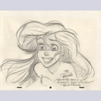Original Walt Disney Animation Art Drawing featuring Ariel signed by Glen Keane