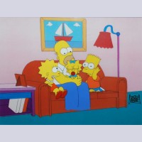 Original Simpsons Production Cel from the Simpsons featuring Homer, Bart, Lisa and Maggie