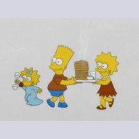 Original Simpsons Production Cel from the Simpsons featuring Bart, Lisa and Maggie
