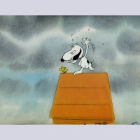 Original Peanuts Production Cel featuring Snoopy and Woodstock