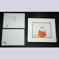 Original Peanuts Production Cel with Two Matching Production Drawings from Snoopy!!! The Musical (TV special)