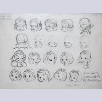 Original Walt Disney Snow White Model Sheet signed by Marc Davis
