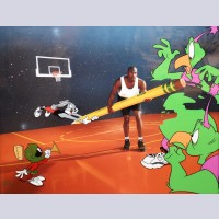 "Original Warner Brothers Limited Edition Cel ""The Great Space Erase"" featuring Bugs Bunny, Marvin Martian, and Michael Jordan"