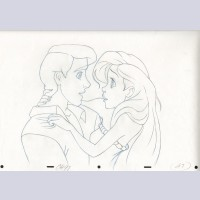 Original Walt Disney Production Drawing From The Little Mermaid featuring Eric and Ariel
