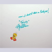 Warner Brothers Production Cel featuring Tweety, Signed and Inscribed by Mel Blanc