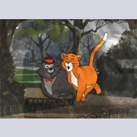 Original Walt Disney Production Cel from The Aristocats featuring Thomas O'Malley and Scat Cat