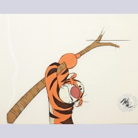 "Original Walt Disney Production Cel from ""The Many Adventures of Winnie the Pooh"" featuring Tigger"