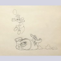 Original Walt Disney Production Drawing from Touchdown Mickey (1932) featuring Mickey Mouse and Pegleg Pete