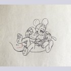 Original Walt Disney Production Drawing of Mickey Mouse and Pluto from Plutopia (1951)