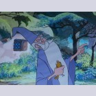 Original Walt Disney Production Cel from The Sword in the Stone featuring Merlin and Arthur as a bird
