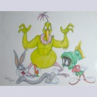 Warner Brothers Virgil Ross Animation Drawing of Bugs Bunny, Instant Martian, and Marvin the Martian