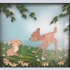 """Original Walt Disney Multiplane Painting """"Bambi and Thumper No. 5"""" featuring Thumper and Bambi"""