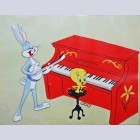 Original Warner Brothers Production Cel Featuring Bugs Bunny and Tweety Bird